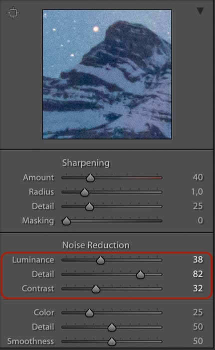 Luminance noise reduction Lightroom