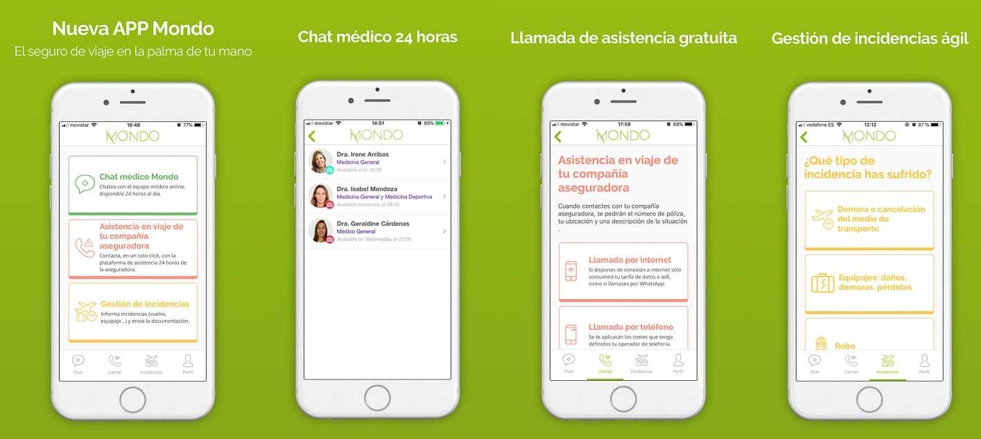 aplicación movil seguro de viaje Mondo atención al cliente desde iphone