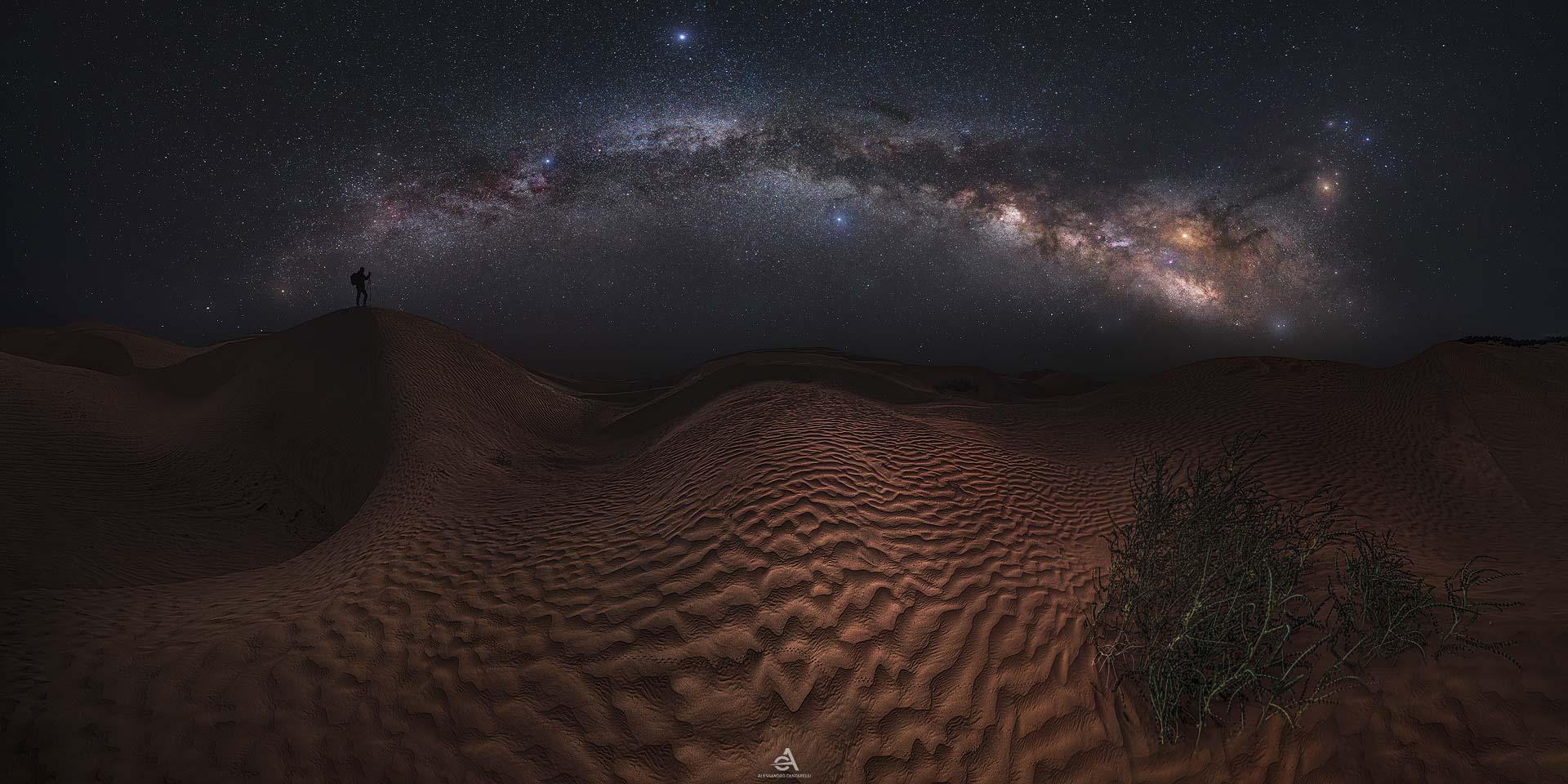 Milky Way Sahara Desert panorama dunes Star tracker