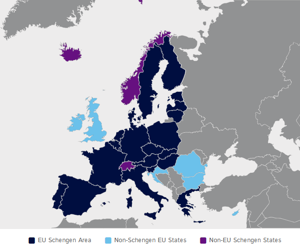 ETIAS area vs Schengen area vs European Union official map