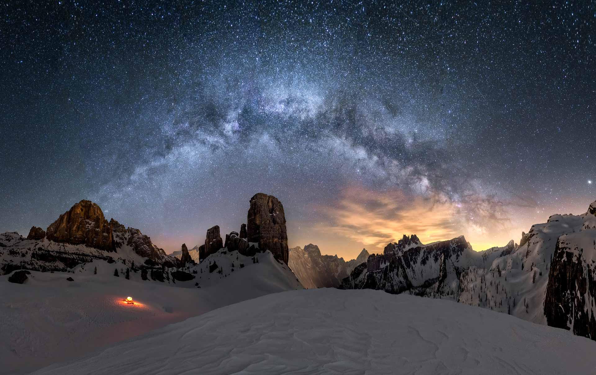 Milky Way Cinque Torri Dolomites Italy