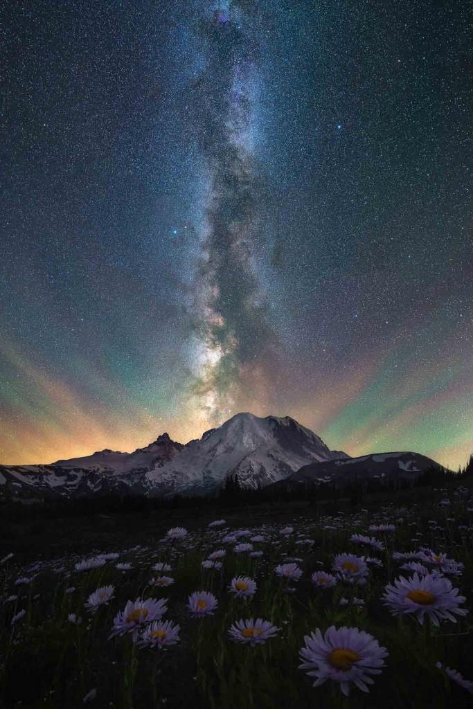 """Milky Way and wildflowers over Mt Rainier"" – Ross Schram VH"