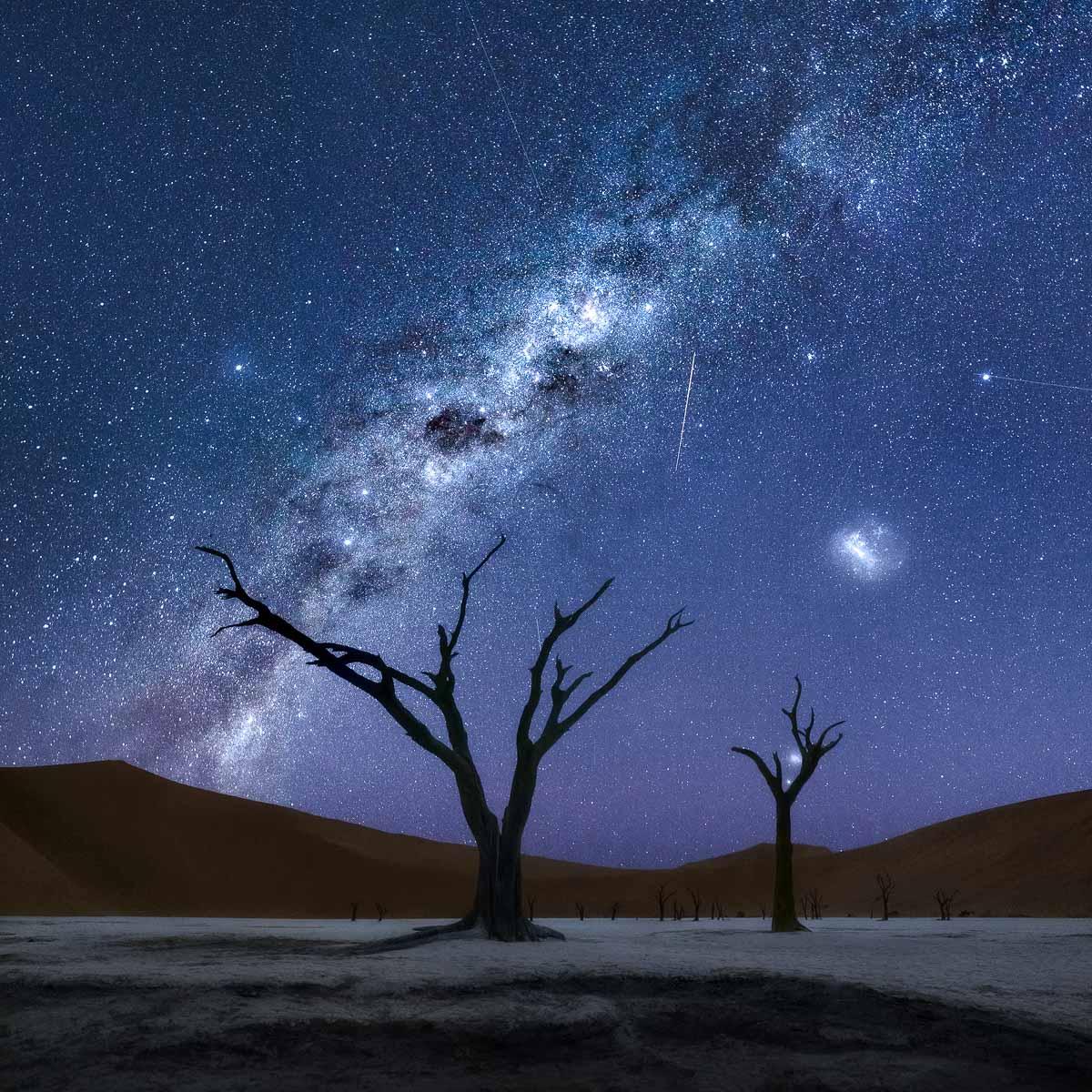 Vía Láctea en Deadvlei Namibia cielo nocturno astrofotografía