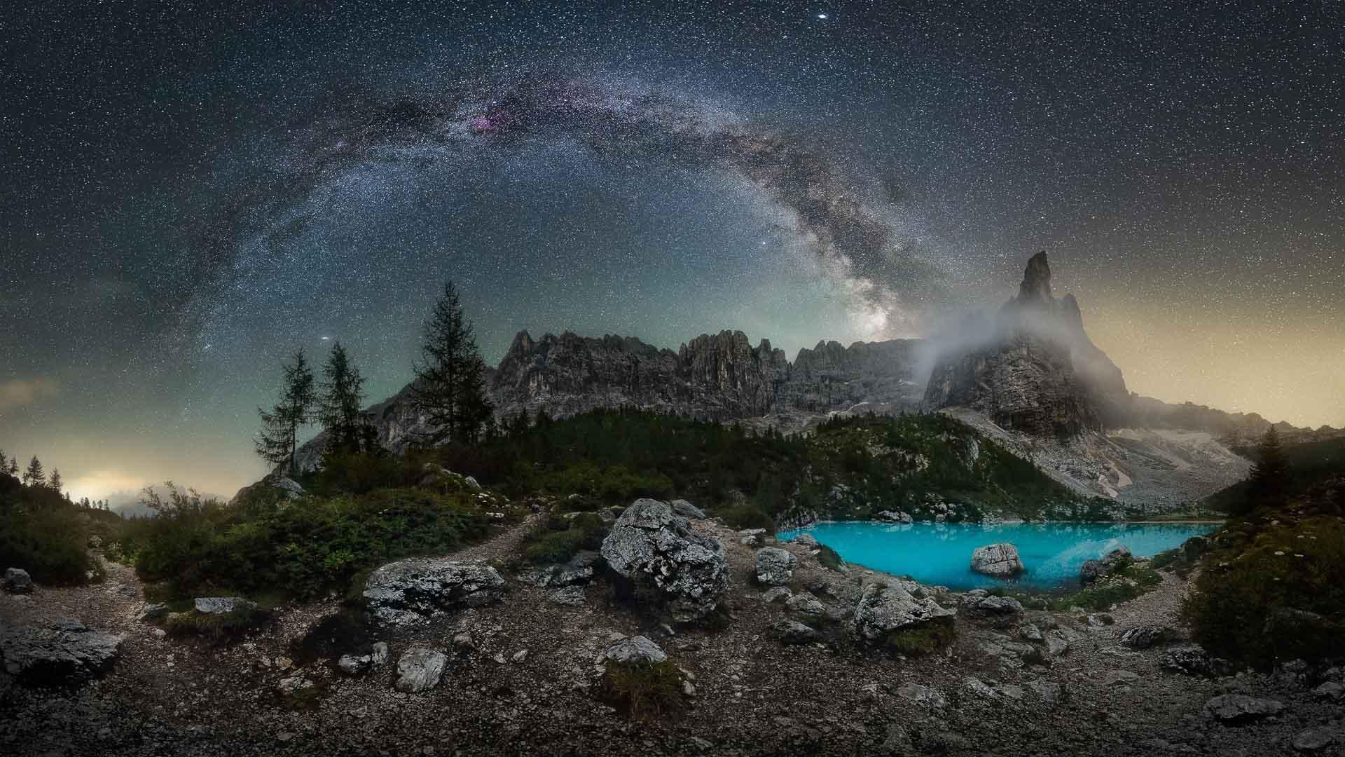 Milky Way over Sorapis Lake Dolomites Italy