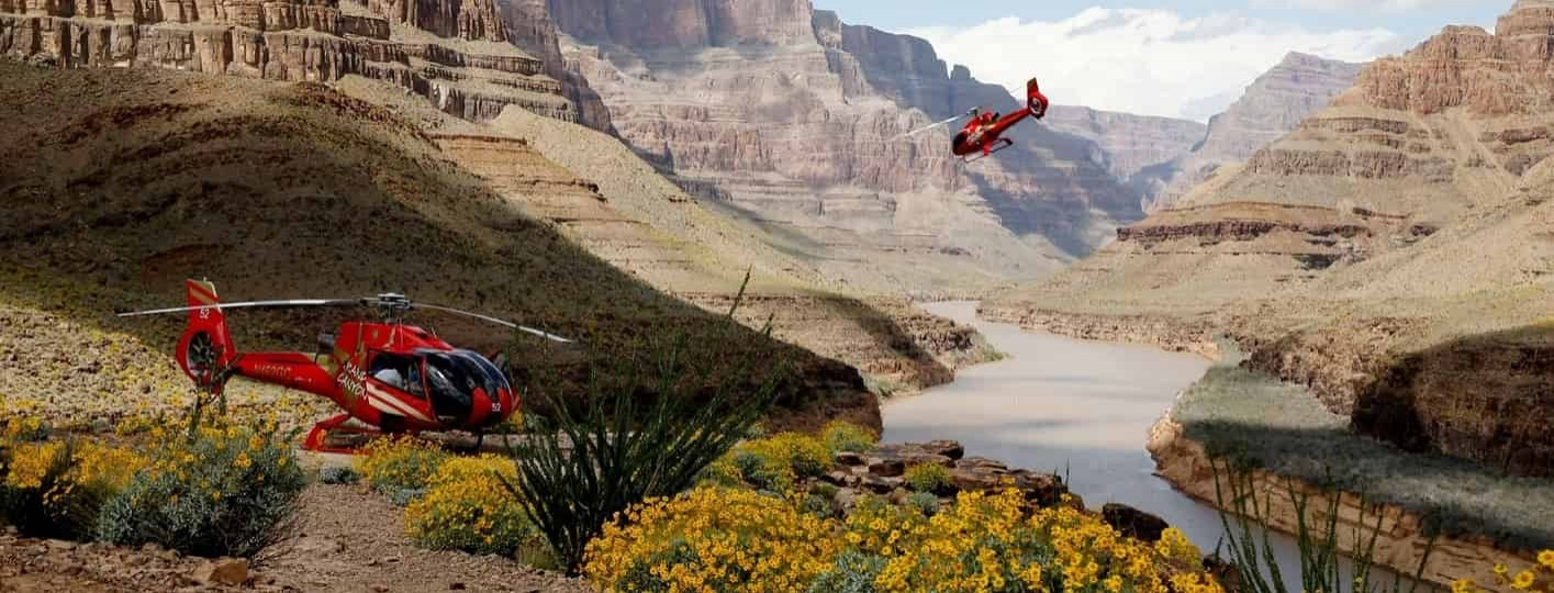 grand canyon helicopter tour landing at the bottom