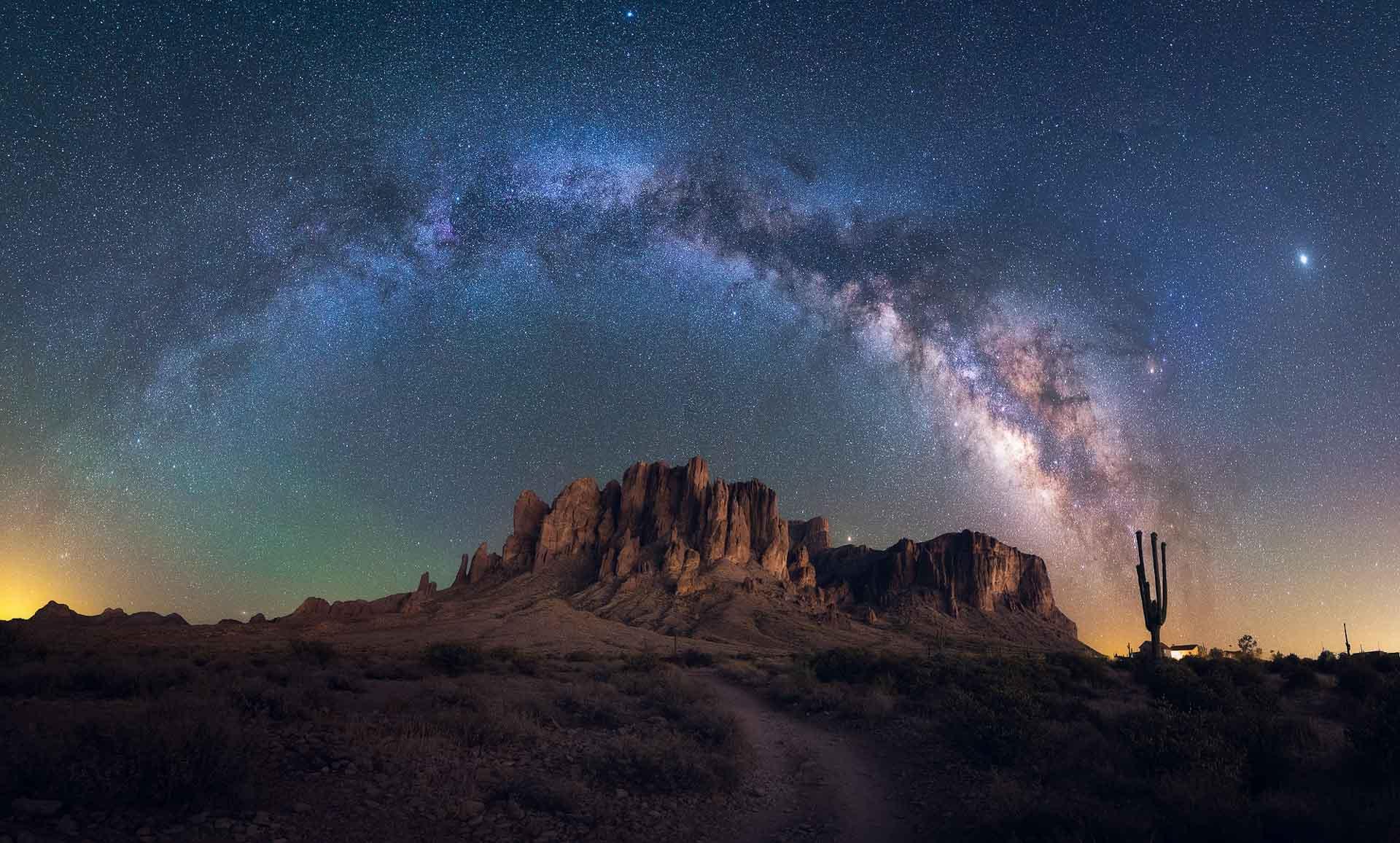 Milky Way Superstition Mountains Arizona USA