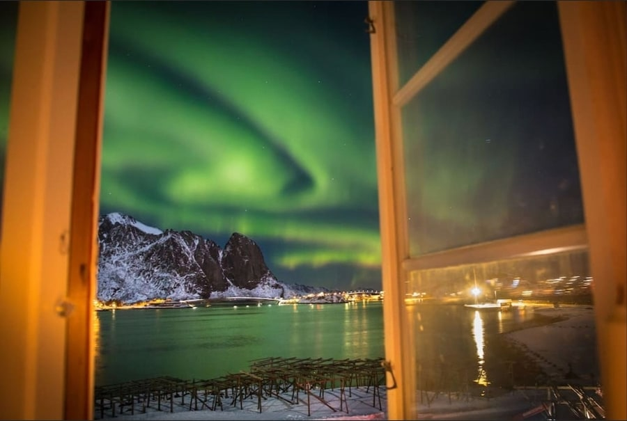 Northern Lights hotel in Lofoten Islands fjord