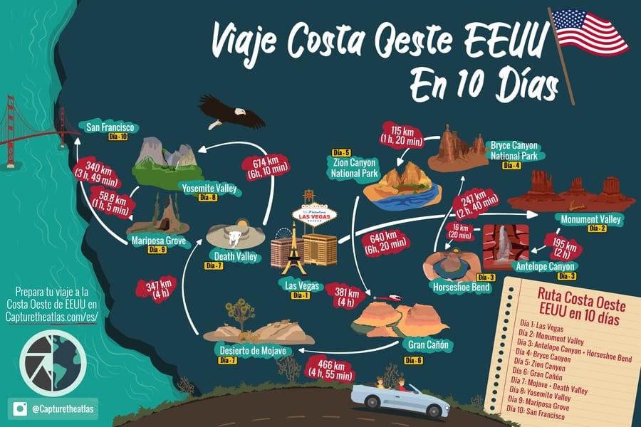 Mapa Eeuu Costa Oeste.Viaje Costa Oeste Eeuu Ruta De 10 Dias Itinerario Y Mapa