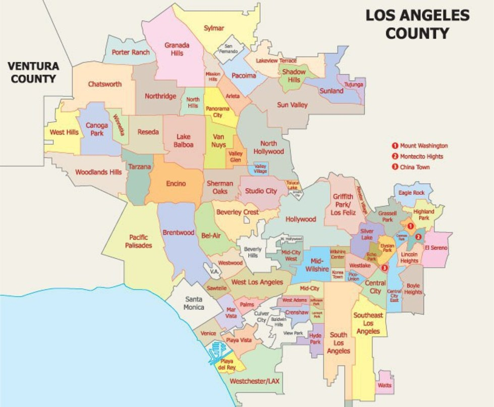 map of los angeles where to stay