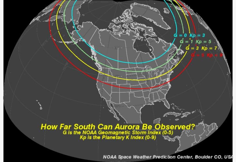 mejores sitios para ver auroras boreales en canada mapa de kp
