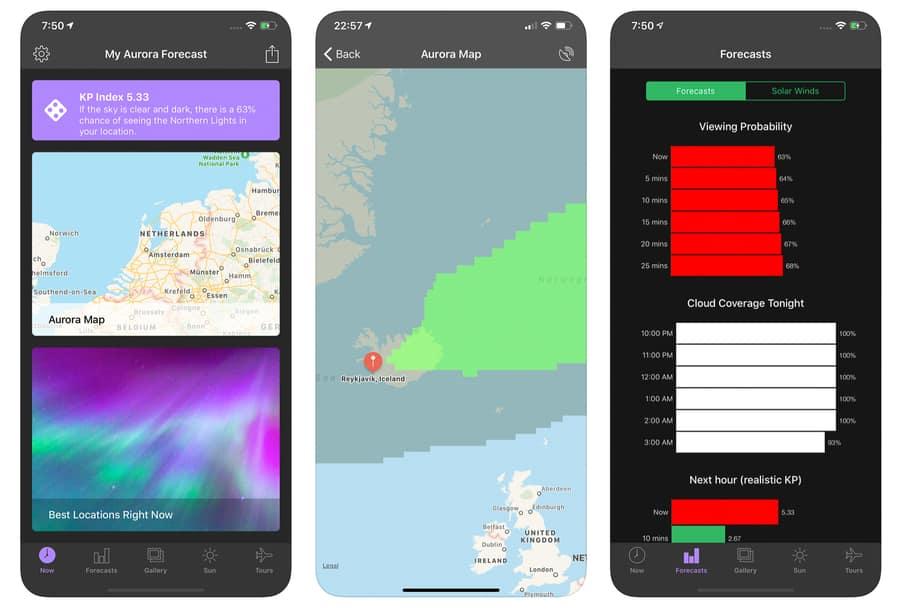 Aplicación de auroras para la previsión de auroras boreales