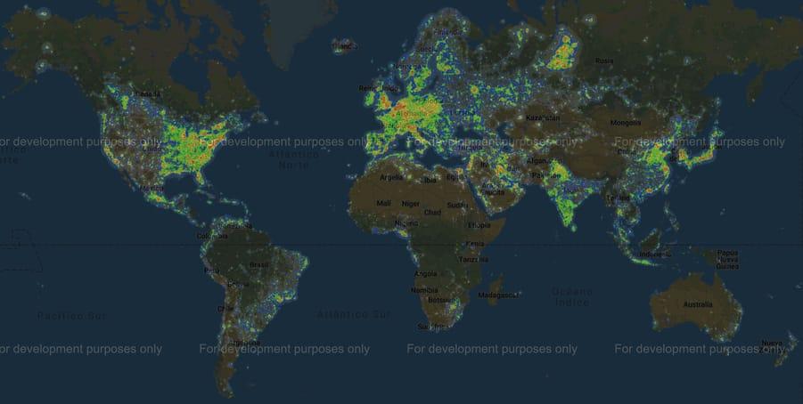 Mapa de contaminación lumínica fotografía de Vía Láctea
