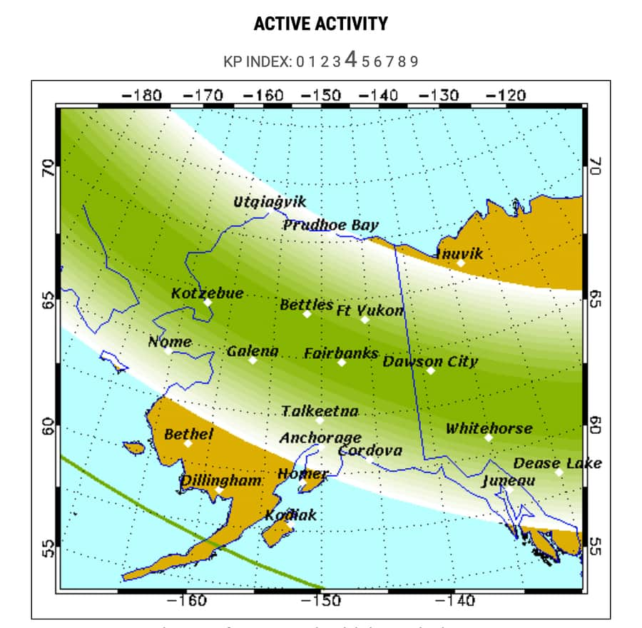 Northern Lights forecast Alaska
