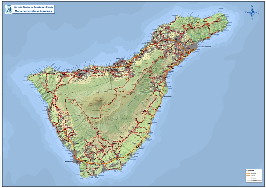 road map of Tenerife