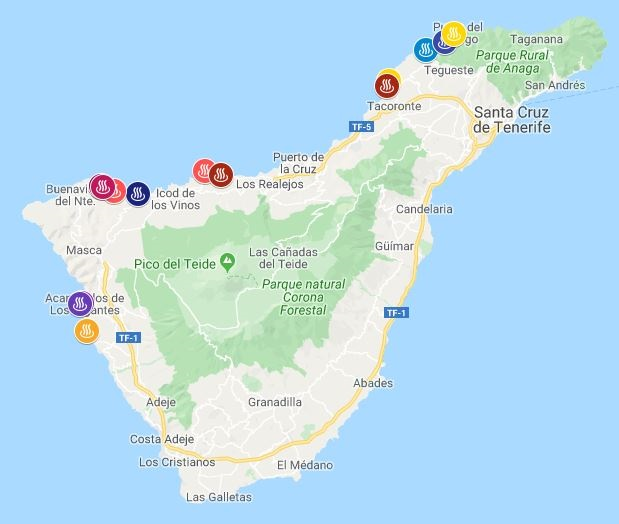 natural pools in Tenerife map