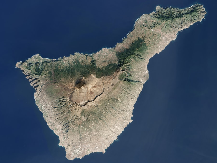 physical map of Tenerife volcanos