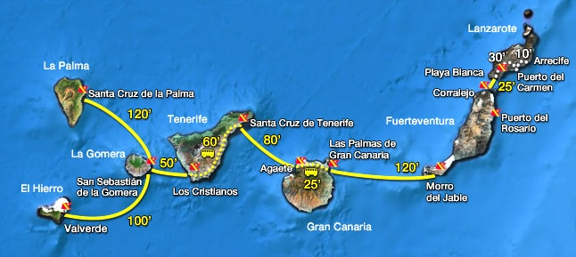 Map of Lanzarote and the Canary Islands