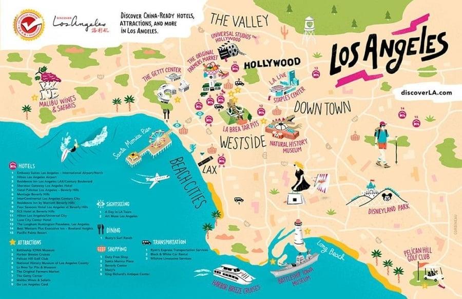 Los Angeles Maps The Tourist Maps Of La To Plan Your Trip