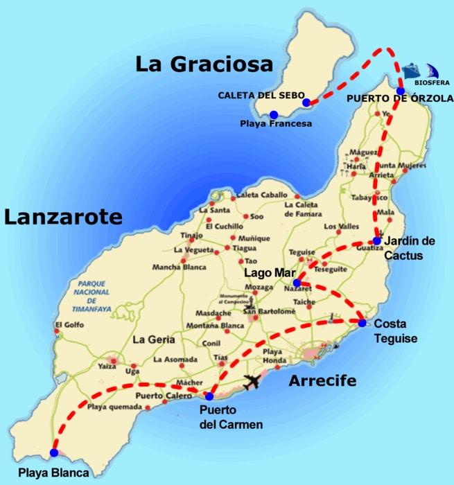Mapa de Lanzarote y La graciosa islas Canarias