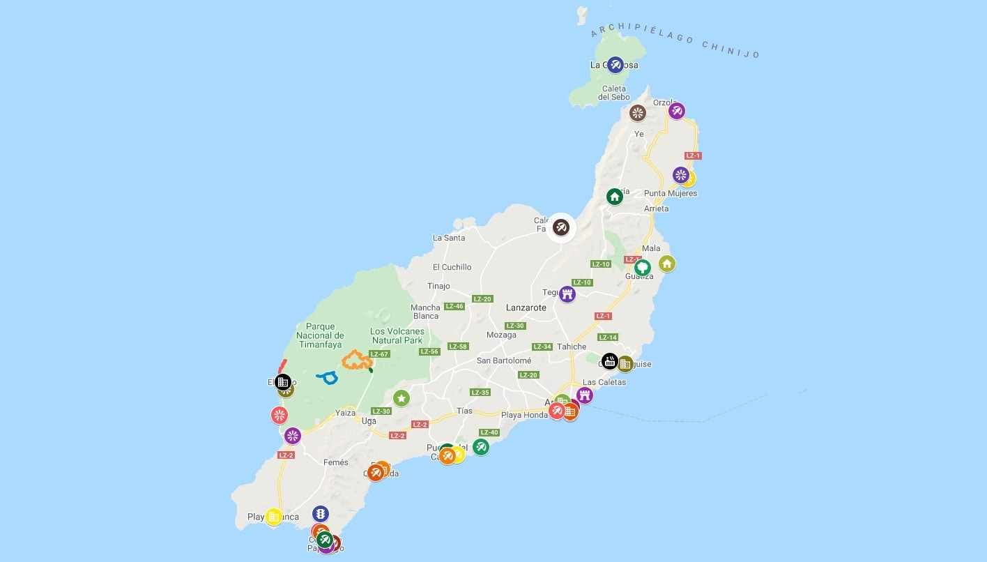 Map of the main attractions of Lanzarote