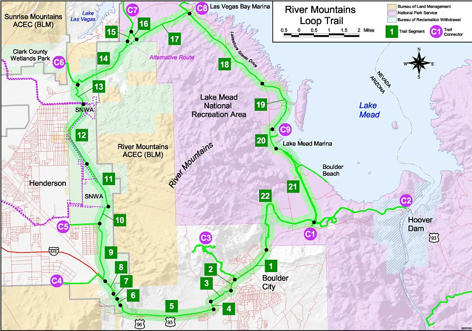 Mapa del River Mountain Loop Trail, Las Vegas