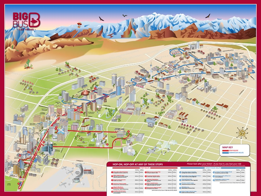 Mapa turístico de Las Vegas