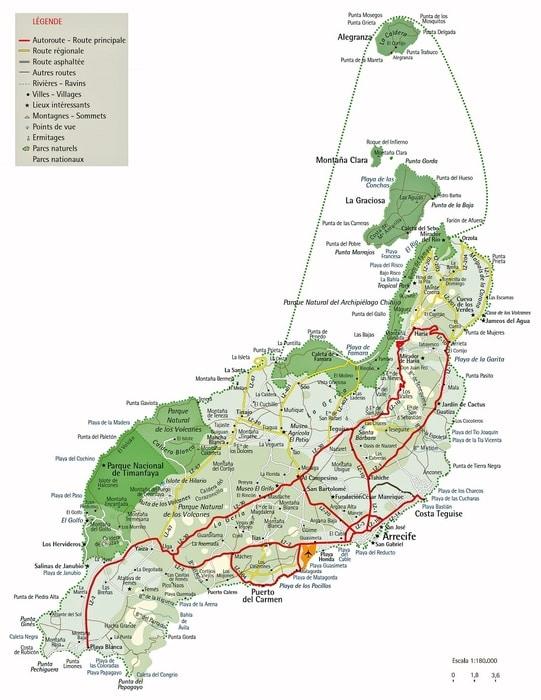 Mapa de carreteras de Lanzarote