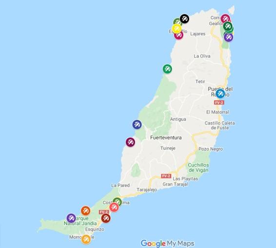 Map of the best beaches in Fuerteventura