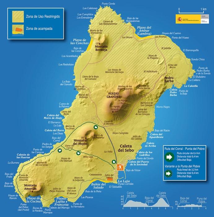 Mapa de senderos en La Graciosa