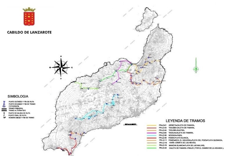 Map of hiking trails in Lanzarote
