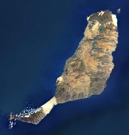 Physical map of Fuerteventura