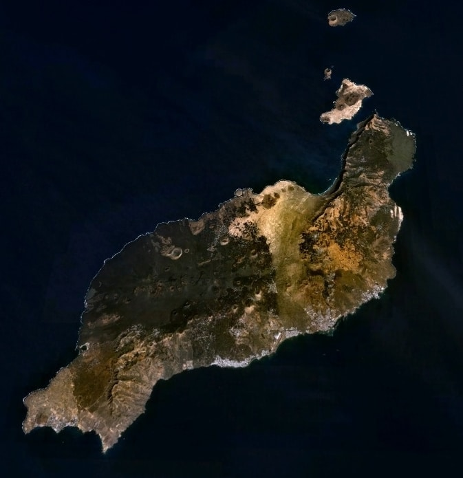 Physical map of Lanzarote