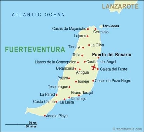Map of Isla de Lobos and Fuerteventura