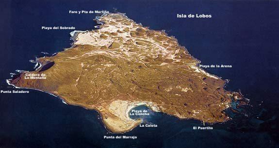 Map of the Isla de Lobos main attractions