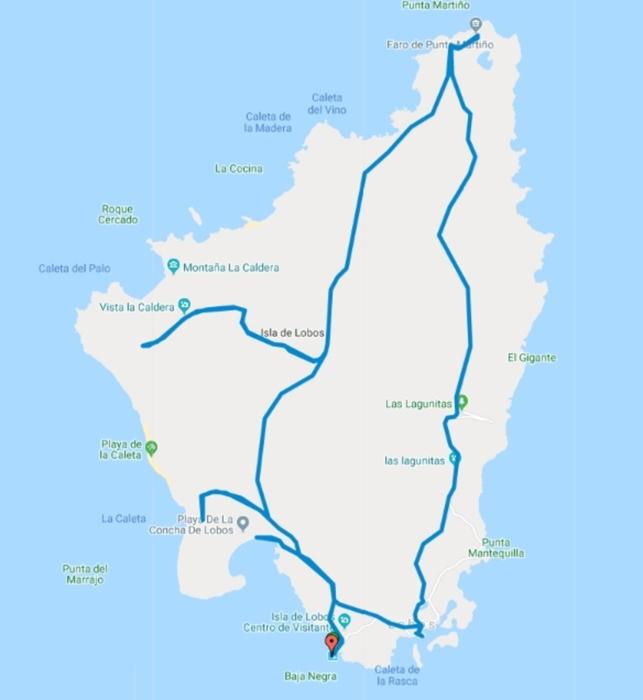 Hiking trail map of Isla de Lobos