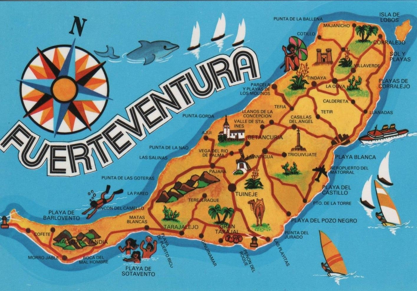 fuerteventura canary islands map spain