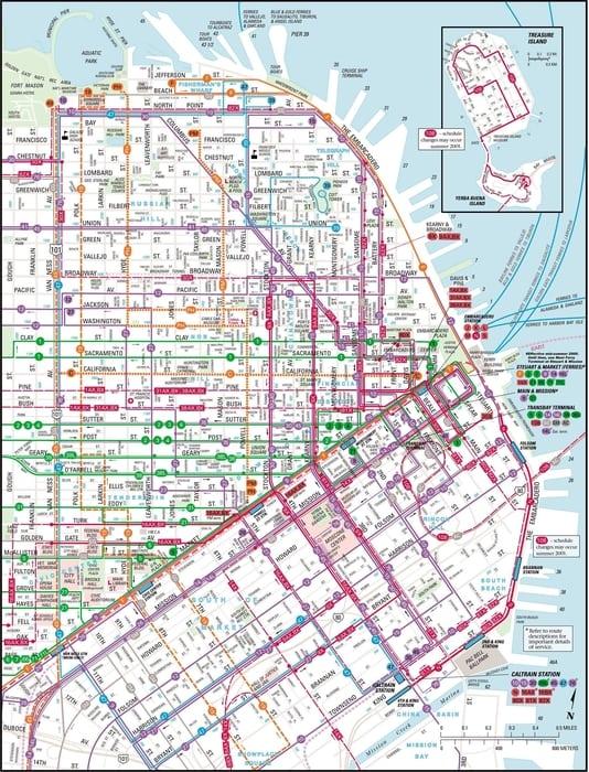 Mapa de transporte público de San Francisco