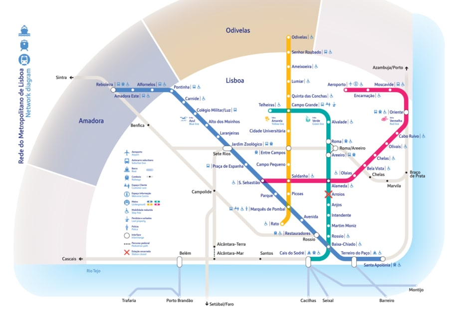 Lisbon public transport map