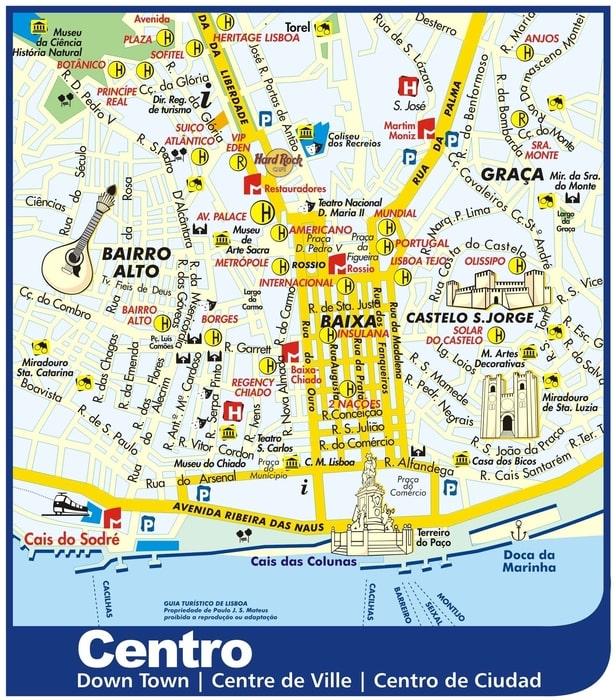 Lisbon Downtown map
