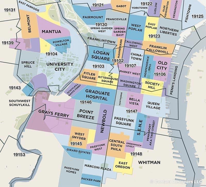 Philadelphia, Pennsylvania, neighborhoods map
