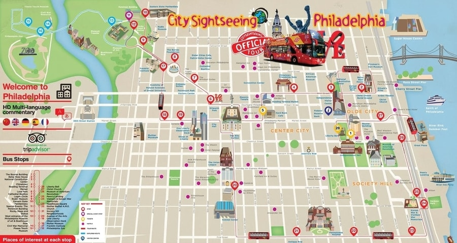 Map of the Philadelphia Downtown