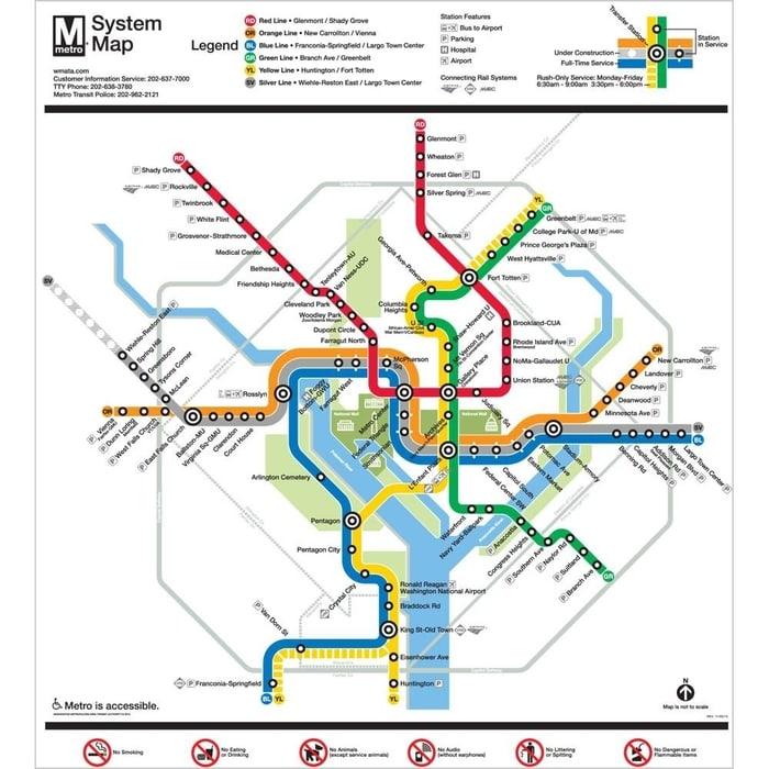 metro map of Washington D.C.