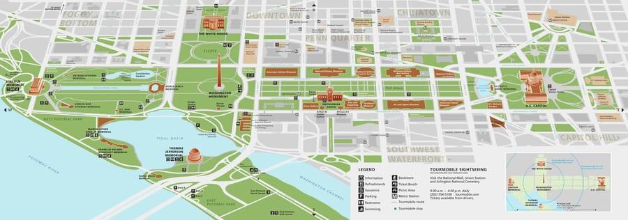 The map of the National Mall of Washington D.C.
