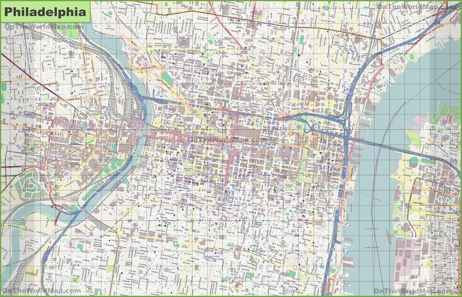 Street map of Philadelphia, United States