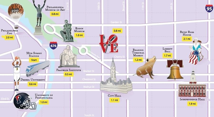 Tourist map of Philadelphia, Pennsylvania, USA