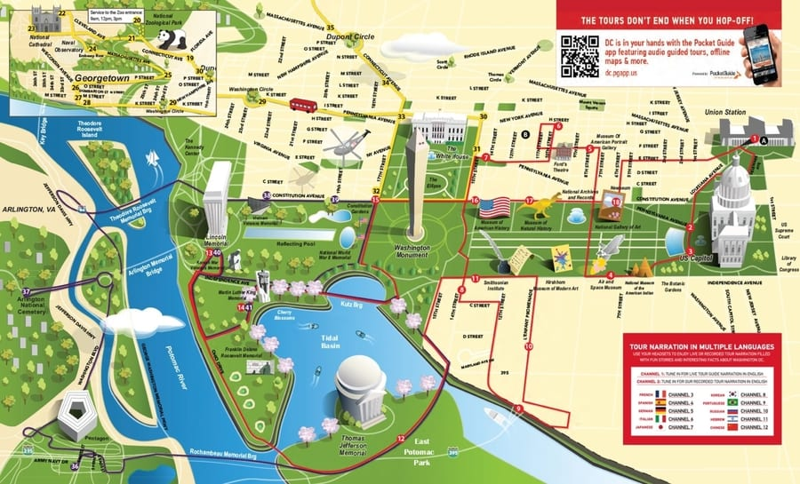 The tourist map of Washington
