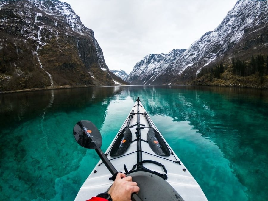 Go Kayaking among the Norwegian fjords in Tromso