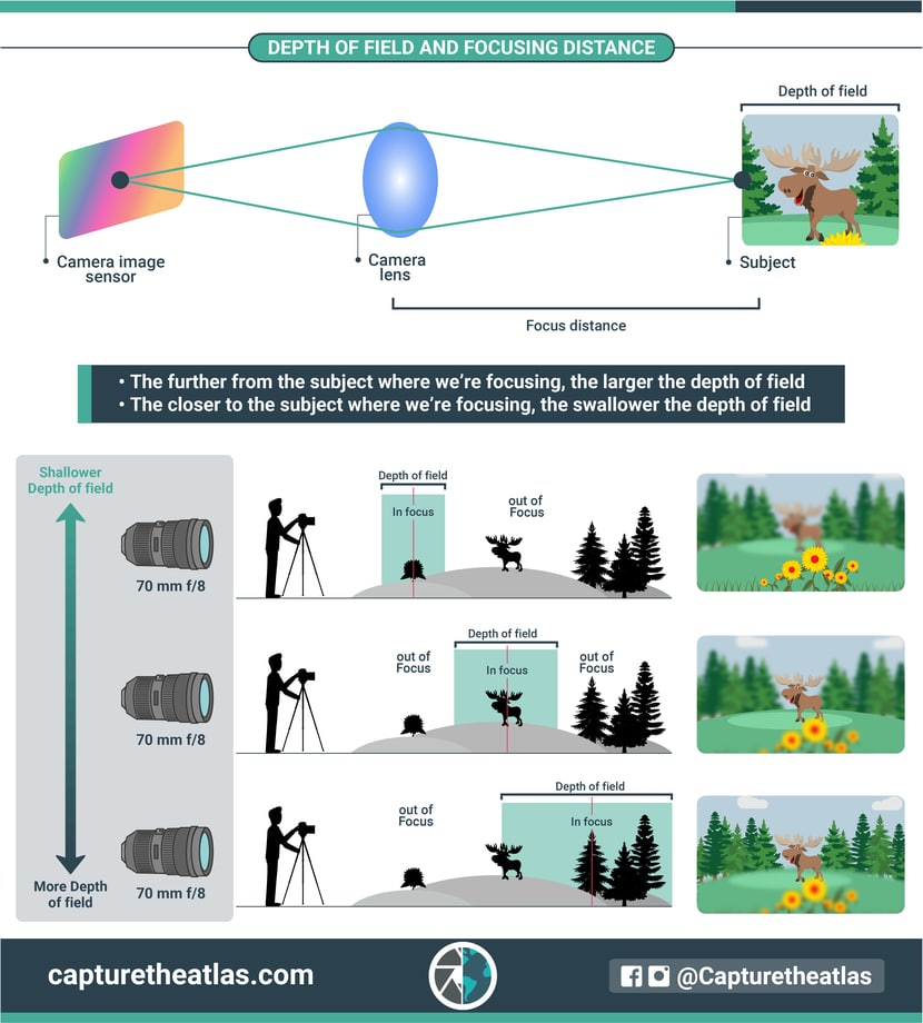 how the depth of field is related with the focusing distance explained