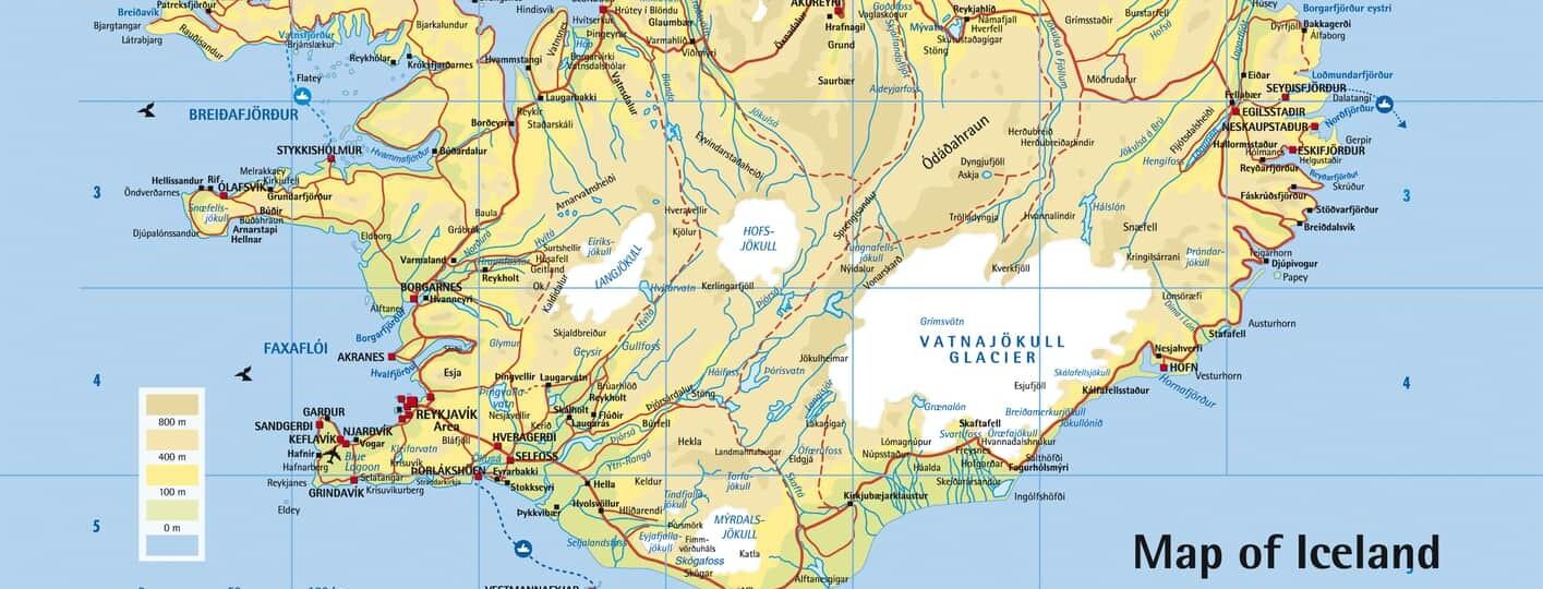 Mapa de Islandia turistico para viajeros