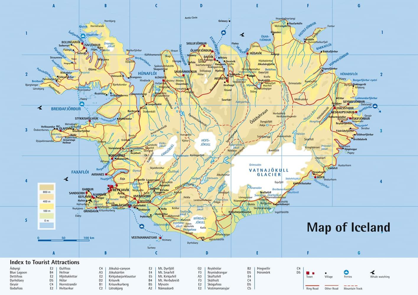 Mapa de Islandia en pdf